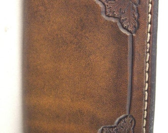 Leather Wallet or Business Card Holder, Oak Leaves on Border