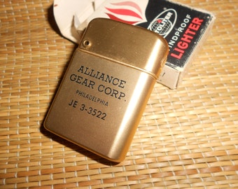 "Autopoint Lighter Vintage Advertising Lighter ""Alliance Gear Corp""  Lettered Case In Original Box Mid Century"