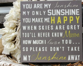 You Are My Sunshine Sign on Woodor Canvas, Canvas Nursery Sign, Baby Sign, Wall Sign, Wall Art