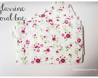 10 Floral glassine/ pattern paper bag