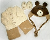 Forest Friend  Baby Sweater / Animal Set/  Made to Order.by Nana's little stitches