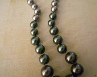 Oversize Pearl Choker Necklace - In Smoke Green and Silver - Amazing Colors