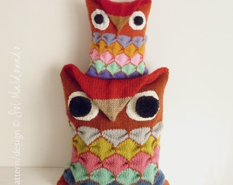 Decorative Pillow knit pattern PDF  - OWL toy knitting amigurumi & pillow - Instant DOWNLOAD