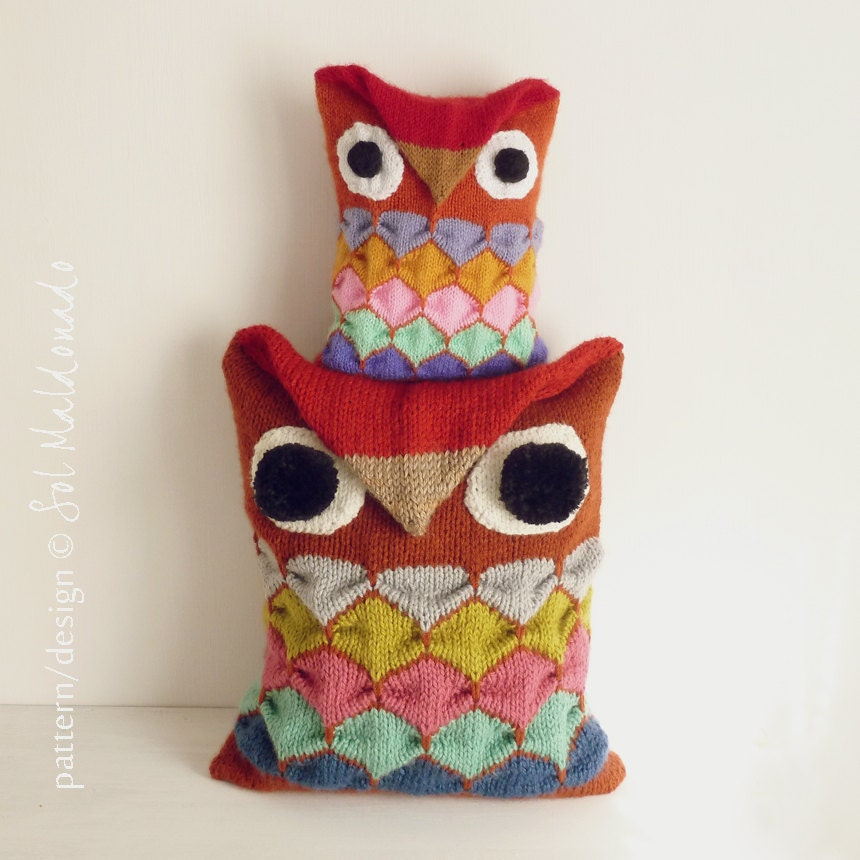 Owl Cushion Knitting Pattern : Decorative Pillow knit pattern PDF OWL toy knitting
