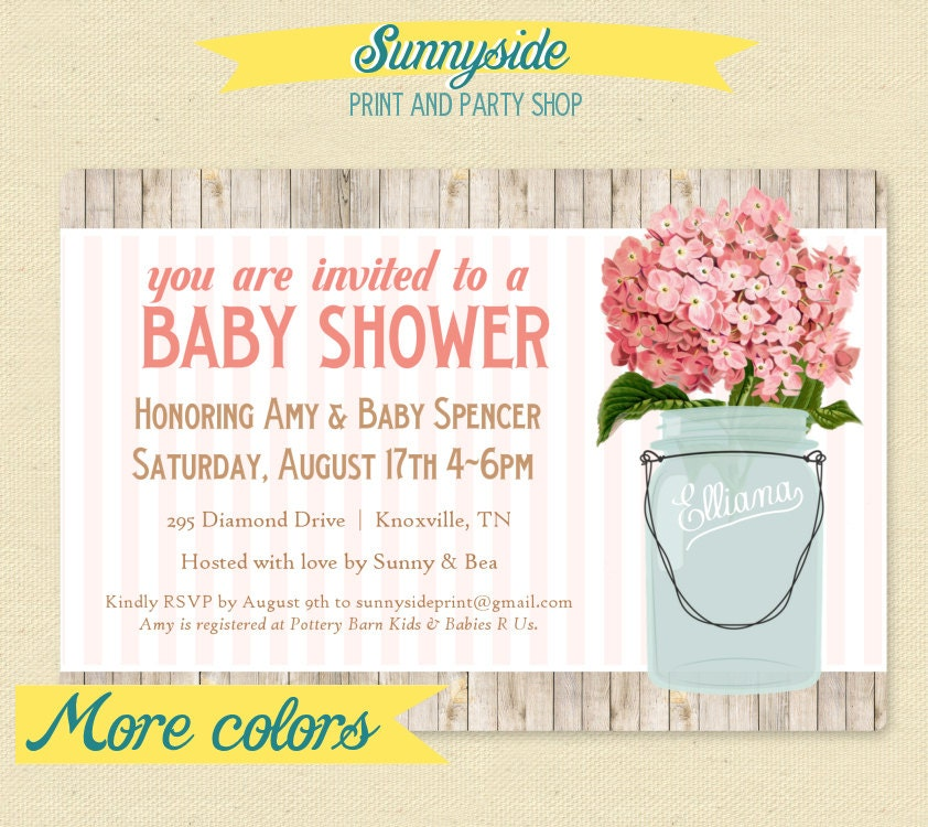 rustic baby shower invitation mason jar by sunnysideprintparty