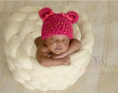Baby Girl Hats. Bear Baby Girl Hats. Soft Baby Girl Bear Hat - Newborn Teddy Bear Beanie- Photo Prop, Baby Shower Gift, Baby Girl Clothes