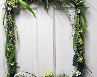 "Green frame, ""Spring in the forest"" wedding rectangular wreath, branches, vines, moss&leaves covered frame, St. Patrick's decoration"