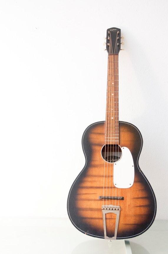 vintage orpheus sunburst tigerstriped acoustic guitar plays. Black Bedroom Furniture Sets. Home Design Ideas