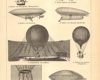 1896 Aviation, Airplanes, Captive Balloons, Navigable Balloons, Airships Original Antique Engraving to Frame