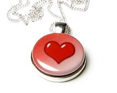 Valentines Day Red Heart Magnetic Button Necklace
