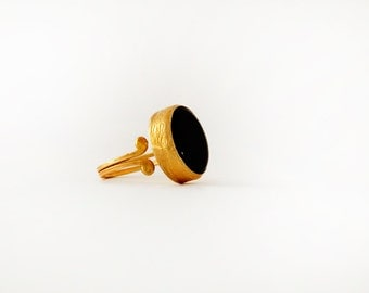 Black Onyx Ring - Black Stone Ring - Black Ring - Black Stone Gold Ring - Black Statement Ring - Womens Rings - Black Onyx Jewelry
