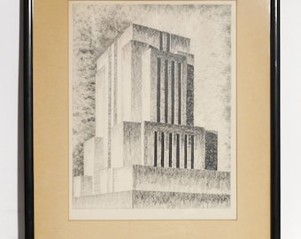 1930's Graphite Drawing of a Machine Age Building