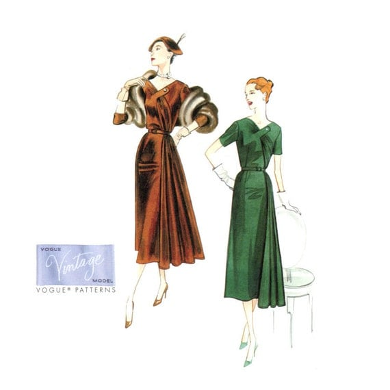Draped Gown Pattern: 1950s Evening Dress Hip Drape Pattern Vogue V8850 By