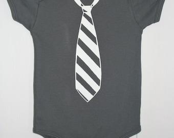 Fancy PantsTie Onesie in Charcoal with White Tie