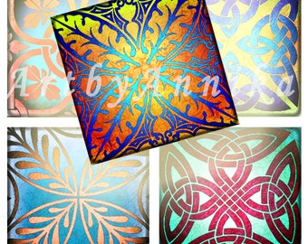 Digital Collage of bright decorative patterns  - 63 1Inch JPG images