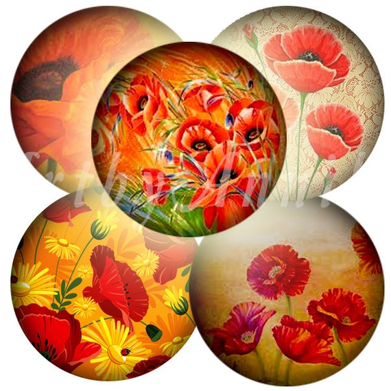 Digital Collage of Red Poppies - 63 1x1 Inch Circle JPG images - Digital Collage Sheet