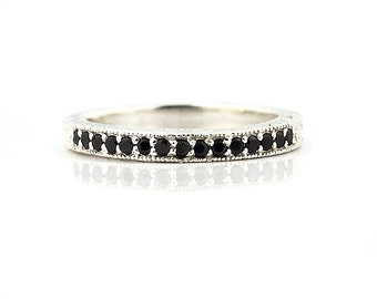 AAA Natural Black Diamond Antique Wedding Band Ring 14k White Gold