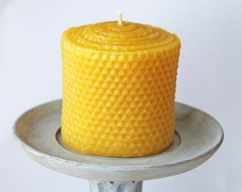 3x3 inch Beeswax Pillar Candle, honeycomb texture, handpoured beeswax candles