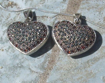 Marcasite and Garnet Heart Locket with Vented Back