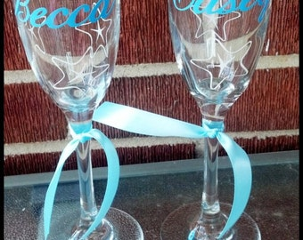 Bride/Groom Champagne glasses set