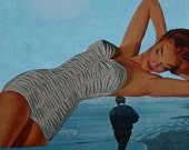 Mixed Media Paper Collage, Girl on the Beach, Retro One of a Kind Surreal Art, Amazon Woman on Water