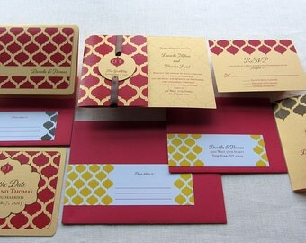 Indian Save the Date Invitation Set -  Indian Wedding Stationery Set - Monogram or Ganesh