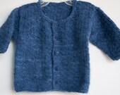 Sale: Little Boy Blue Angora Baby Sweater Handknit in Hand Spun Angora Rabbit Yarn - Original Design - Handmade Buttons