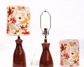 Pair of Orange Ceramic Lamps with Fabric Shades