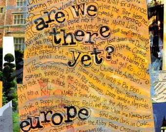 EUROPE Travel Gift, Travel Art, Europe Travel List,Bucket List, Mixed Media Art, Art Print, Wall Art by Northwest Artist  Mary Klump