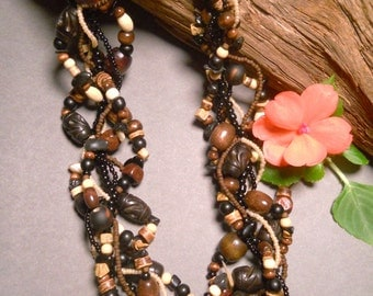 Multi strand necklace, wood necklace, African, Tribal, brown, black, neutral, earthy, statement, safari, twisted, freeform: Africa