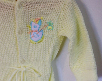 STORE CLOSING SALE Yellow Knit Duck Footed Knit Onsie