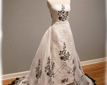 Black and White Wedding Dress - Convertible - Custom Made - Giada Gown