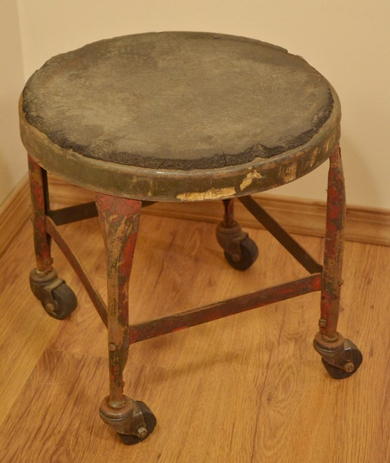 Red Metal Stool Vintage Uhl Toledo Metal By