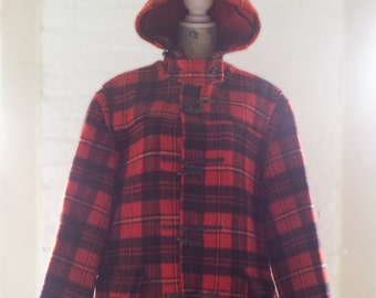 Gloverall Duffle Coat Red Black Tartan Plaid Vintage Wool Duffel Coat England Sz 44 Winter Preppy School Boy Dead Poets Society Toggle Coat