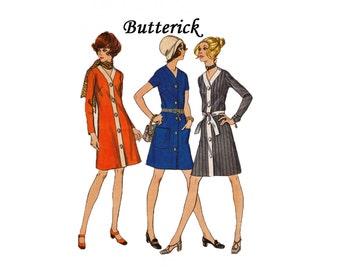 Cardigan Dress Size 42 Bust 46 Butterick 5910 1970s Sewing Pattern A line v neckline