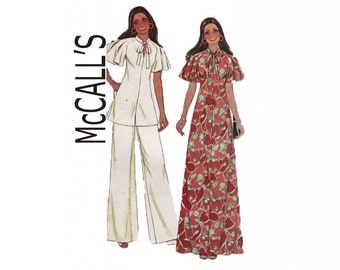 McCall's 5322 Marlo's Corner Size 12 Misses raglan sleeves dress or top and pants Bust 34 1976 Sewing Pattern