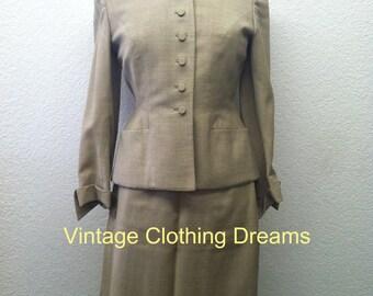 Vintage 1940s Suit jacket skirt tan 40s ladies womans 50s 1950 1950s Swansdown suit Bust 34 35 36 Size S M Small Medium