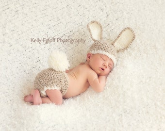 Baby Bunny Costume - Bunny Hat and Diaper Cover Set-Newborn Easter or Halloween Photo Prop