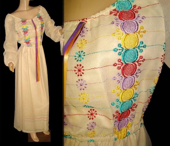 Vintage 1960s Dress . Maxi . Bohemian  ,  NOS . Tags Attached Embroidered Bohemian Edwardian Goddess Boho Hippie Wedding  Gown