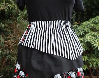 SALE Pirate skirt  - 4 asymmetric layers skull & crossbones, stripes, polka dots