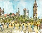 India sketch, Cricket in Mumbai  : print from an original watercolor sketch