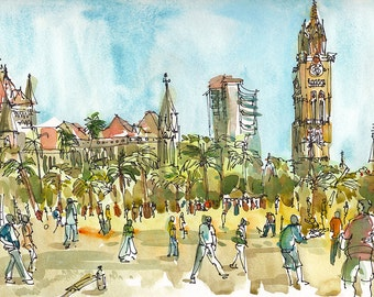 India sketch, Cricket in Mumbai  : print from an original watercolor sketch