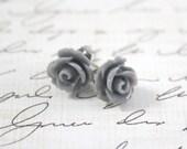 Grey Rose Earrings - Gray Rose Earrings - Bridesmaid Earrings - Flower Girl Earrings - Rosette Earrings - Weddings