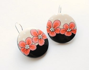 Dangle - Hand painted black and cream floral polka dot earrings