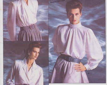 80s Oscar de la Renta Womens Blouses with Variations Vogue Sewing Pattern 1913 Size 12 14 16 Bust 34 36 38 UnCut Vogue American Designer