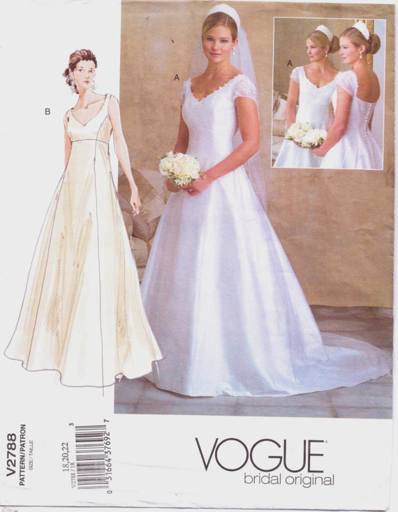 Plus size womens empire waist wedding gown vogue sewing for Wedding dress patterns plus size
