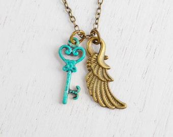 Guardian Angel Wing and Key Necklace, Key Charm Necklace, Freedom, Free to Dream, 21 Birthday Gift, BFF, Wing Necklace, Skeleton Key Pendan