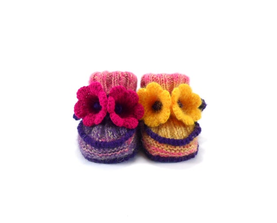 Baby Booties Hand Knitted with Crochet Bell Flowers - Spring Colors, 0 - 3 months, Knitted Baby Shoes