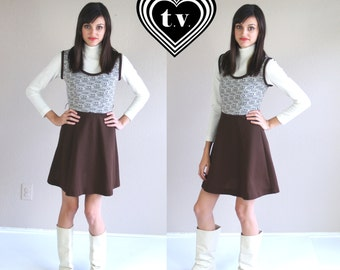 vtg 60s brown Novelty HOUSES PRINT mod Mini DRESS babydoll xs twiggy go go chocolate scooter dolly retro