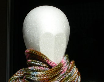 Cowl, mobius scarf, endless scarf, continuous scarf  gaitor pink brown blue tan green multicolored hand knit